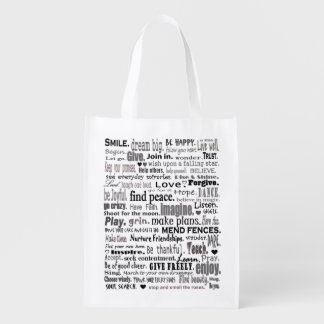 inspirational words tote reusable grocery bags