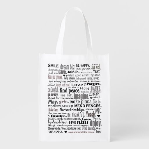 inspirational words tote grocery bag