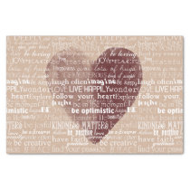 Inspirational Words Watercolor Heart Tissue Paper
