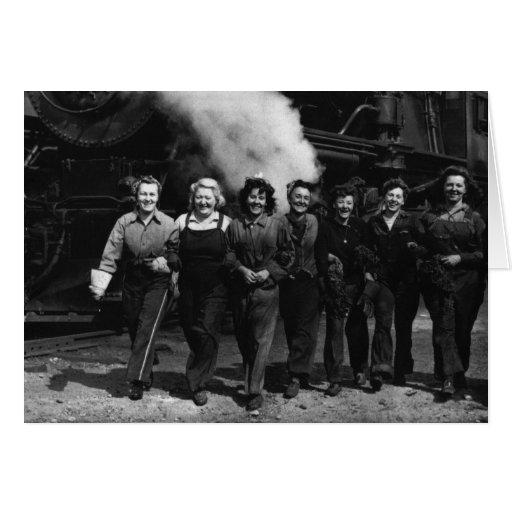 Inspirational World War I Women Railroad Workers Card