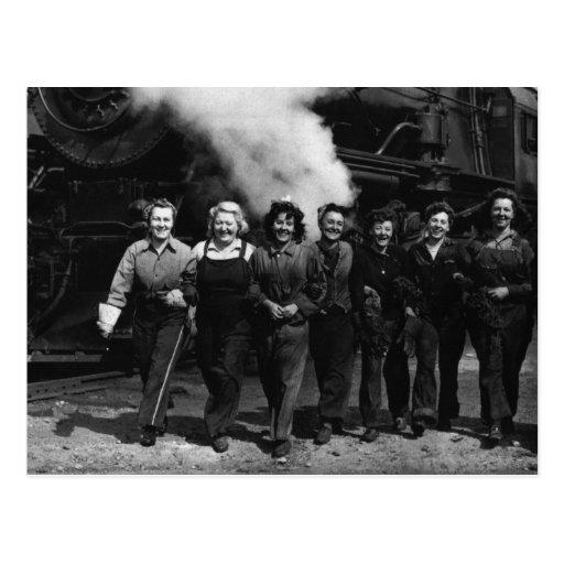 Inspirational World War I Women Railroad Workers Post Card