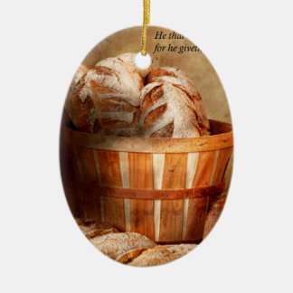 Inspirational - Your daily bread - Proverbs 22-9 Double-Sided Oval Ceramic Christmas Ornament