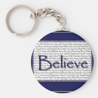Inspirations Believe Blue.jpg Basic Round Button Keychain