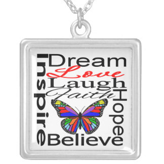 Inspire Collage Design Silver Plated Necklace