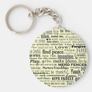 Inspire el collage del arte de la palabra llavero redondo tipo pin