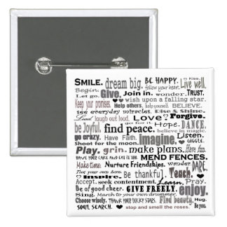 Inspire el collage del arte de la palabra pin cuadrada 5 cm