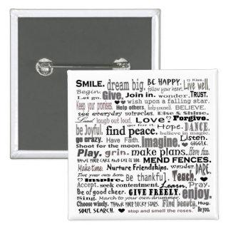 Inspire el collage del arte de la palabra pin cuadrado