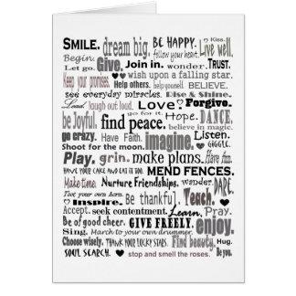 Inspire el collage del arte de la palabra tarjeta de felicitación