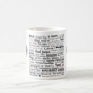 Inspire el collage del arte de la palabra taza de café