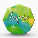 """Inspire Motivational Design Paperweight Award<br><div class=""""desc"""">Inspire Motivantional Design &quot;to fill with an animating,  quickening,  or exalting influence&quot;,  typography design on watercolor background of blues and yellows. &#169; HomeStyle Design Studio</div>"""
