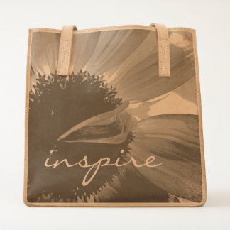"""""""Inspire"""" quote giant daisy close-up photo leather Tote"""