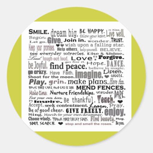 Inspire word art collage classic round sticker