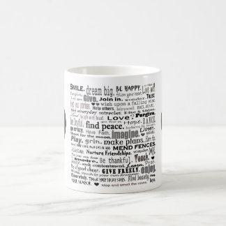 Inspire word art collage classic white coffee mug