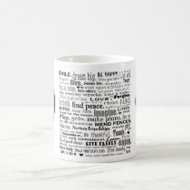 Inspire word art collage coffee mug