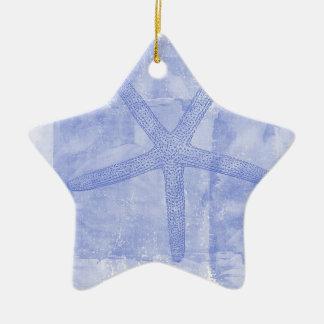 Inspired Beach Theme Starfish Double-Sided Star Ceramic Christmas Ornament
