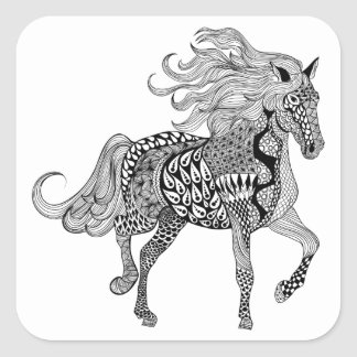 Inspired Black Horse Square Sticker
