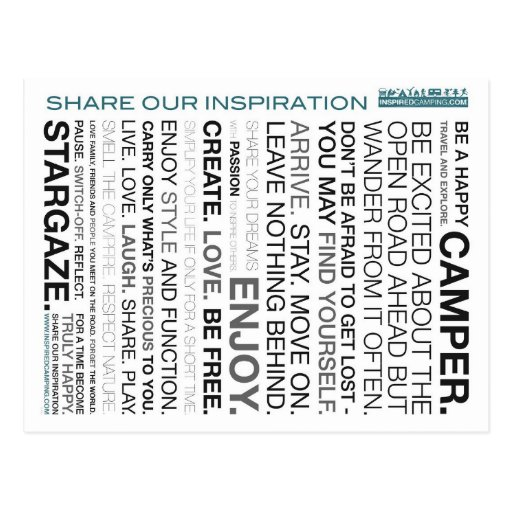 Inspired Camping Mantra Postcards
