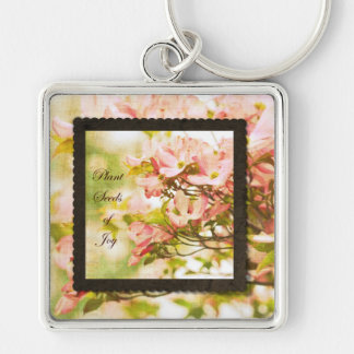 Inspired Dogwood Flowers Silver-Colored Square Keychain