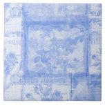Inspired French Botanical Blue Ceramic Tile
