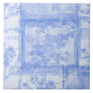 Inspired French Botanical Blue Large Square Tile