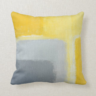 'Inspired' Grey and Yellow Abstract Art Throw Pillow