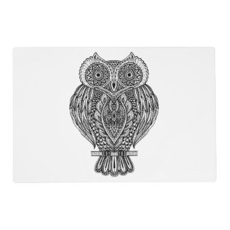 Inspired Hand Drawn Ornate Owl Placemat
