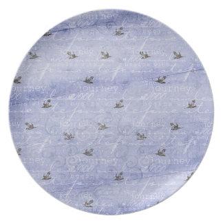 Inspired Journey Blue Melamine Plate