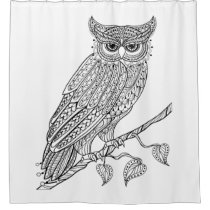 Inspired Magic Owl Sitting On Branch Shower Curtain