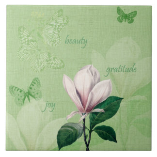 Inspired Magnolia Floral Large Square Tile