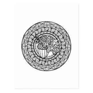 Inspired Mandala Autumn Oak Leaf Postcard