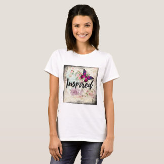 Inspired Pink Butterfly and Shabby Vintage Roses T-Shirt