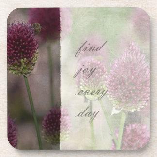 Inspired Pink Floral Joy Drink Coaster