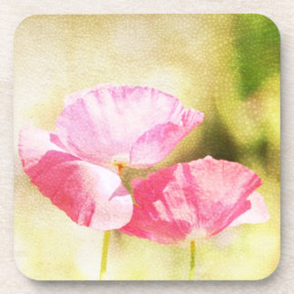 Inspired Pink Poppies Beverage Coaster