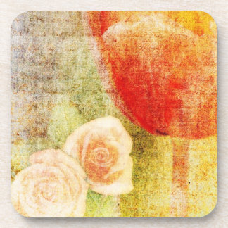 Inspired Red Tulip and Roses Beverage Coaster