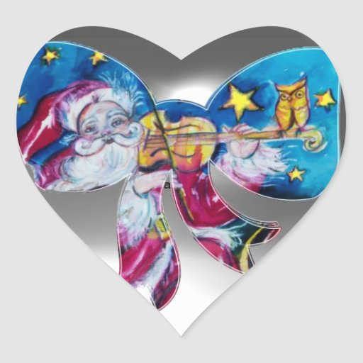 INSPIRED SANTA CHRISTMAS BOW HEART STICKERS