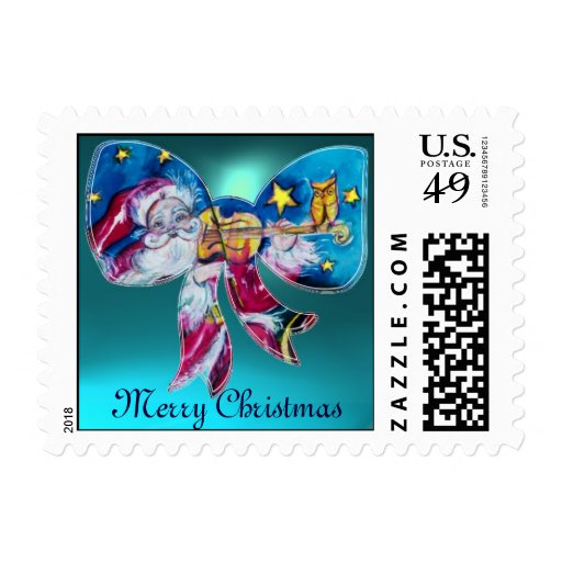 INSPIRED SANTA CHRISTMAS BOW POSTAGE STAMPS