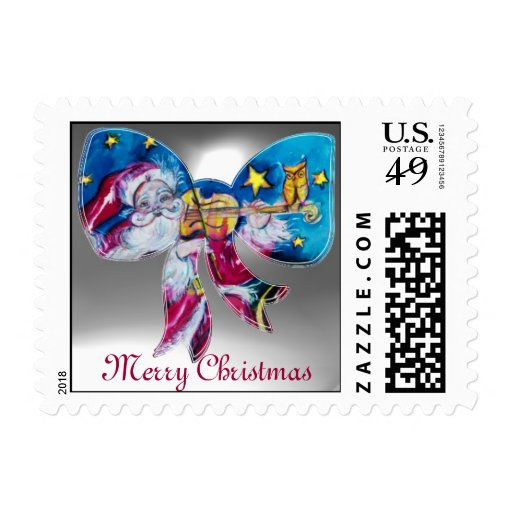 INSPIRED SANTA CHRISTMAS BOW POSTAGE STAMP