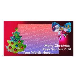 INSPIRED SANTA CHRISTMAS TREE AND BOW PHOTO CARD