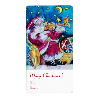 INSPIRED SANTA PLAYING VIOLIN Christmas Red White Label