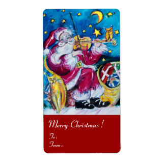 INSPIRED SANTA PLAYING VIOLIN Red Blue Christmas Label