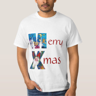INSPIRED SANTA  PLAYING VIOLIN XMAS MONOGRAM T-Shirt
