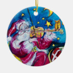 INSPIRED SANTA Red Ruby Gem Stone Double-Sided Ceramic Round Christmas Ornament