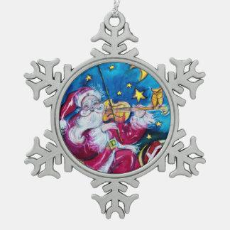 INSPIRED SANTA SNOWFLAKE PEWTER CHRISTMAS ORNAMENT