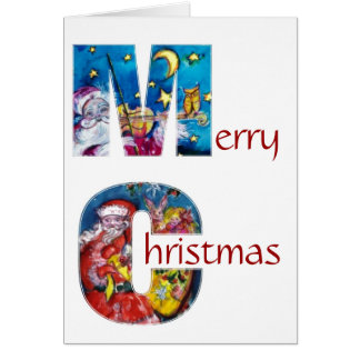 INSPIRED SANTA WITH CHRISTMAS GIFTS MONOGRAM CARD