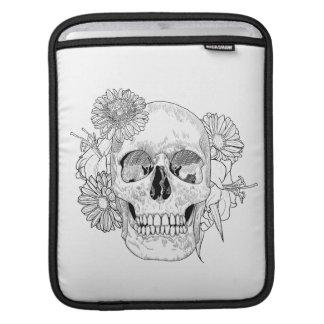 Inspired Skull And Flowers iPad Sleeves