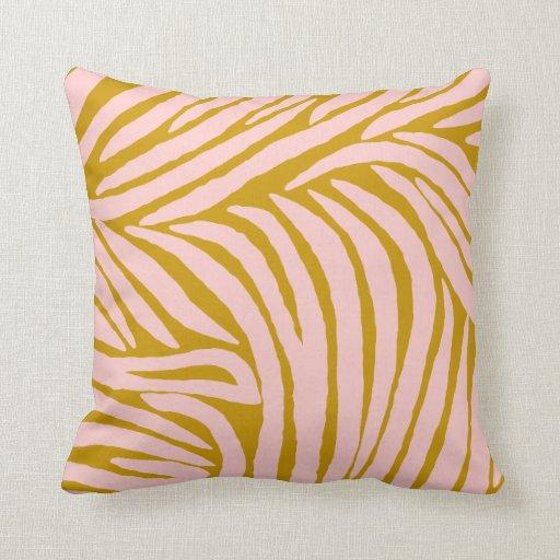 Pink Zebra Print Decorative Pillows : Inspired Zebra Print Pink and Gold Throw Pillows Zazzle