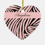 Inspired Zebra Print  Pink Christmas Tree Ornament
