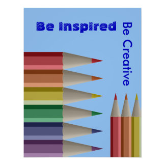 Inspírese sea lápices coloreados creativos del póster