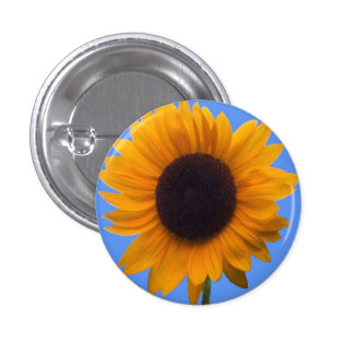 Inspiring Autumn Beauty Sunflower Singular Blossom 1 Inch Round Button