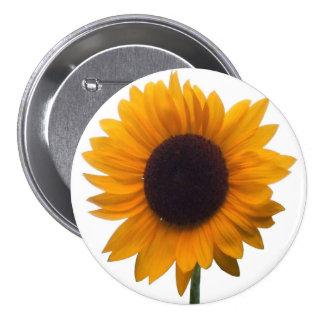 Inspiring Autumn Beauty Sunflower Singular Blossom Pinback Button
